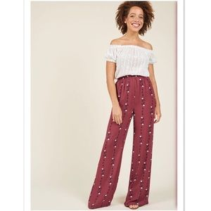 ModCloth Eugene High Rise Wideleg Pant Berry